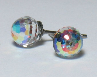 6mm Swarovski Faceted Crystal Earrings - Rainbow Finish / Hypoallergenic Surgical Steel Posts / Stud Earring / Sparkly / Clear / Disco Ball