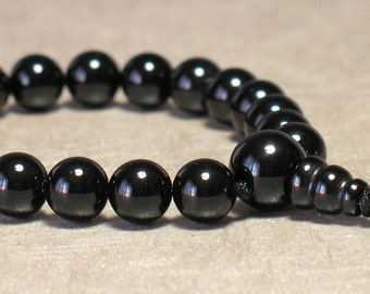 Black Onyx Wrist Mala : 8mm 21 bead Tibetan Buddhist Juzu Beads First Root Chakra