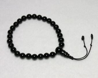 Black Onyx Wrist Mala : 8mm 27 bead Tibetan Buddhist Juzu Nenju Mala Beads First Root Chakra Buddhism Prayer Beads