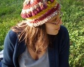 SALE. patchoulli. handmade crocheted tam style hat beret cap out of handspun and dyed merino yarn.