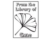 Ginkgo Leaf from library of book plate ex libris custom Rubber Stamp