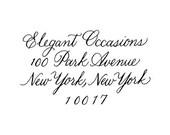 Custom Calligraphy Return Address Rubber Stamp Bickham style font