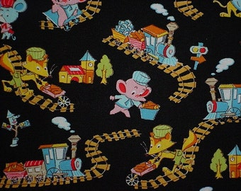 RETIRED Cute Retro Animals playing with toy trains Japanese Fabric Kawaii Tiger, Fox, Elephant and Mouse Vintage looking