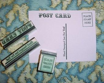 Postcard Rubber Stamp set 3 piece set for DIY postcards post card
