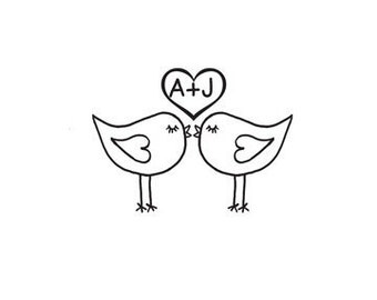 Cute Love Birds Kissing custom Rubber Stamp lovebirds heart with intials
