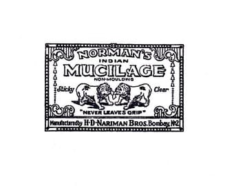 CLEARANCE Vintage bulldogs glue label Rubber Stamp