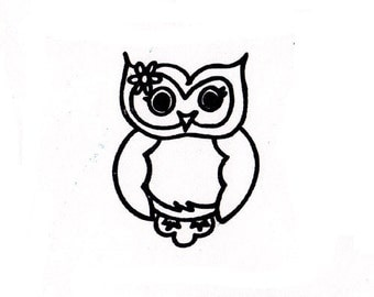 CLEARANCE cute girl owl rubber stamp