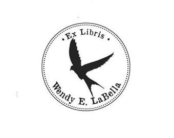 flying bird Ex Libris bookplate custom Rubber Stamp