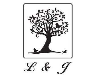 Save the Date Stamp Custom rubber Stamp wedding tree