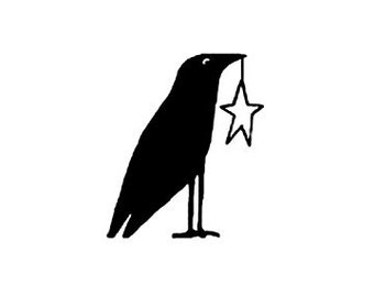 RETIRED Primitive crow with star rubber stamp