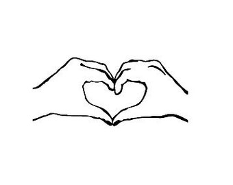 Hand shaped heart Rubber Stamp hands making heart