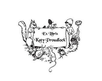 Personalized Bookplate, Childrens Bookplate custom rubber stamp animals