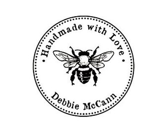 bumble bee Handmade with love custom Rubber Stamp