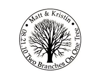 rustic tree custom rubber stamp for wedding favors two branches one tree