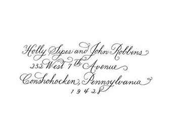 Beautiful Hand Calligraphy Custom Made Return address  rubber stamp Cherise