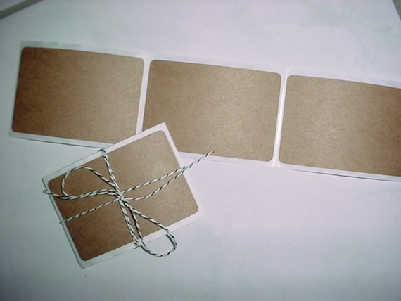 40 brown Kraft peel and stick sticky labels stickers 3X2 inches 3 X 2