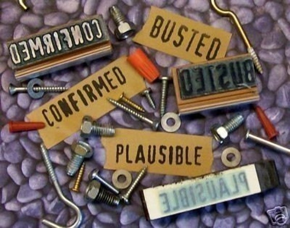 Mythbusters Busted, Plausible and  Confirmed Set of Rubber Stamp set