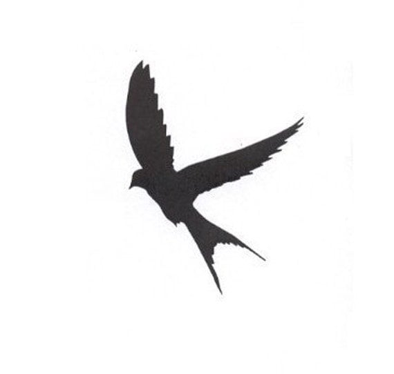 Silhouette Swallow In Flight Mounted Rubber Stamp Large
