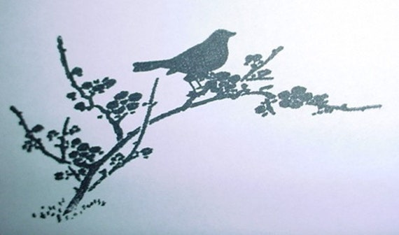 Bird on a Cherry Blossom Tree Branch Mounted Rubber Stamp silhouette