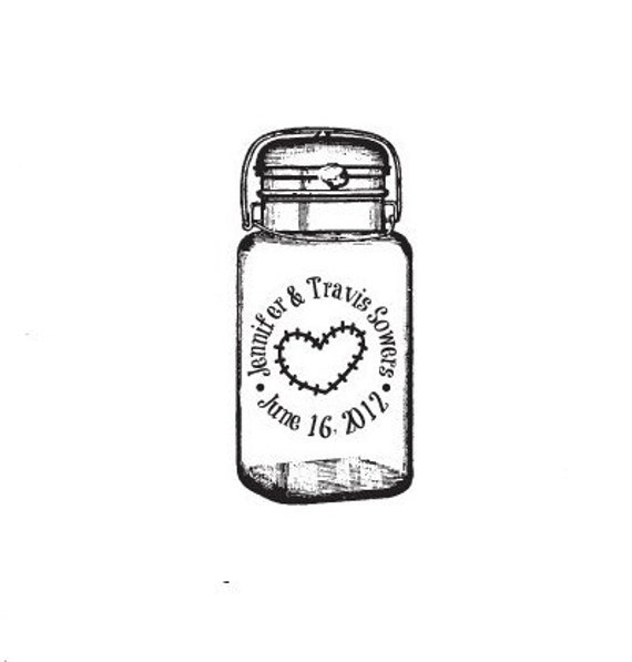 mason jar save the date wedding Custom Rubber Stamp