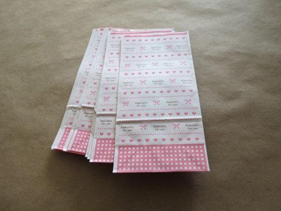 24 pink hearts and bows kawaii paper gift goodies bags
