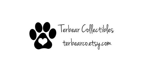 heart Paw print dog custom rubber stamp with shop info and email address