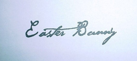 Easter Bunny Signature Mounted Rubber Stamp  Autograph