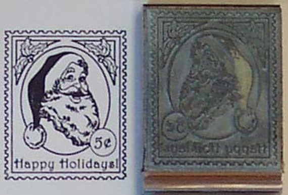 Santa Postage Stamp Mounted Rubber Stamp Happy Holidays
