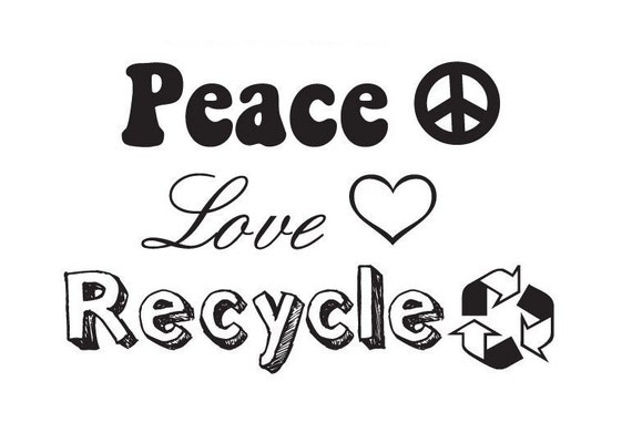 Peace, Love, Recycle Mounted Rubber Stamp