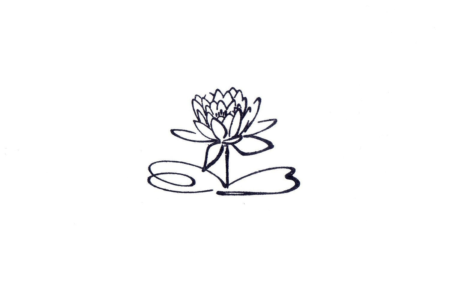 Calligraphy Lotus Flower Mounted Rubber Stamp