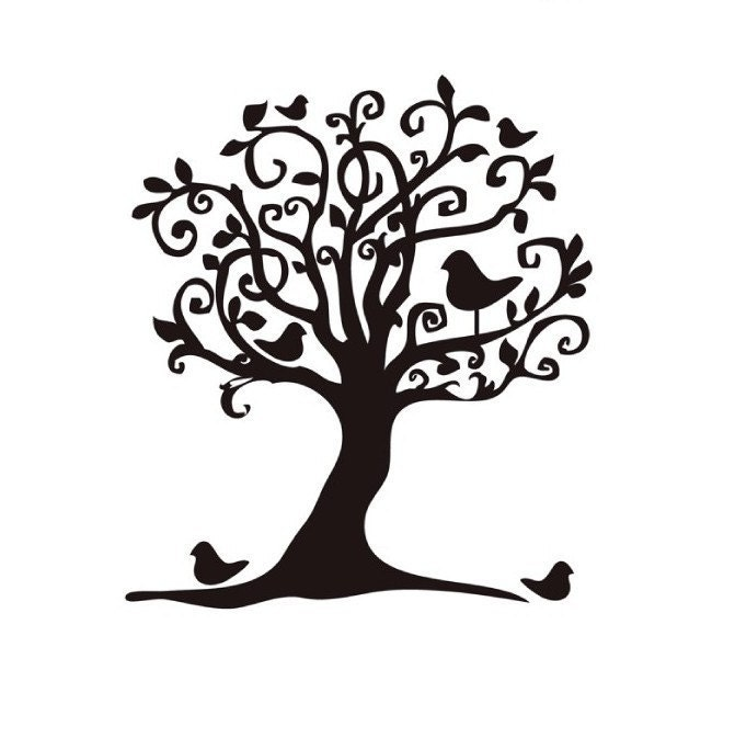 Whimsical Birds In Tree Mounted Rubber Stamp By Terbearco