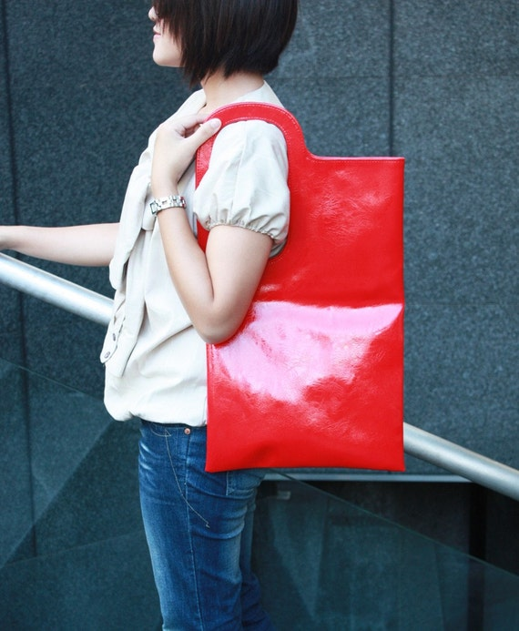 Quote Japan Street Punk design faux leather bag -- Red