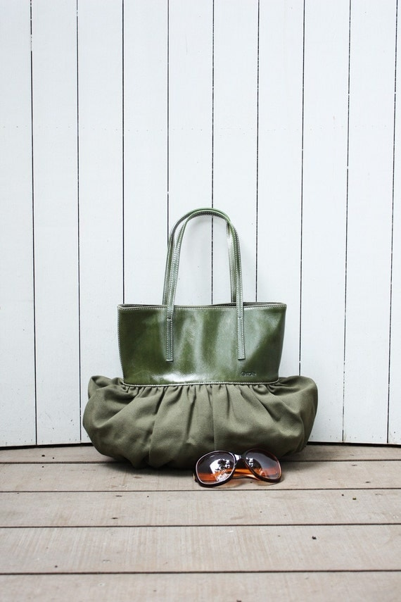 Quote Pleated Bag Leather and Canvas--olive green