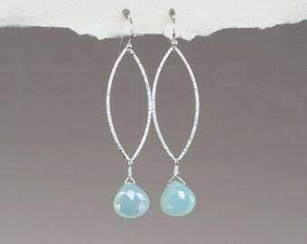 Aqua Blue Gemstone and Sterling Silver Marquise Hoop Earrings