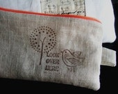 linen pencil case - look over here - Custom Order For Maria