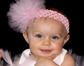 PINK Tulle Tutu Bow Headband Crochet Baby Toddler Girl Diva MUST HAVE Birthday
