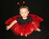 Ladybug Red Black FULL Custom Boutique Tutu Baby Toddler 0-12mo 1-2 2T 3T Birthday Party Costume Dress up Photo Prop Lady Bug HALLOWEEN