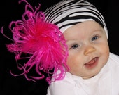 Hot Pink ZEBRA Print Curly Ostrich Puff Beanie Hat Baby Toddler Girl 0-12mo 1-5 years 2T 3T MUST Have DIVA Photo Prop