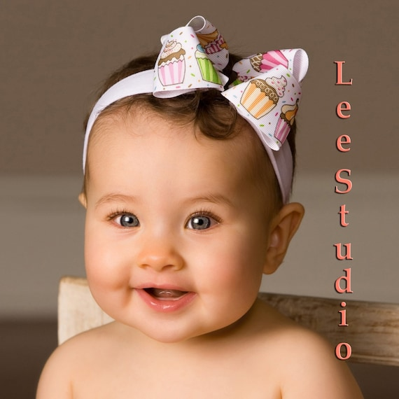 CUPCAKE White Big Boutique Bow Headband Baby Toddler Girl MUST Have Brown Pink Photo Prop Birthday Party