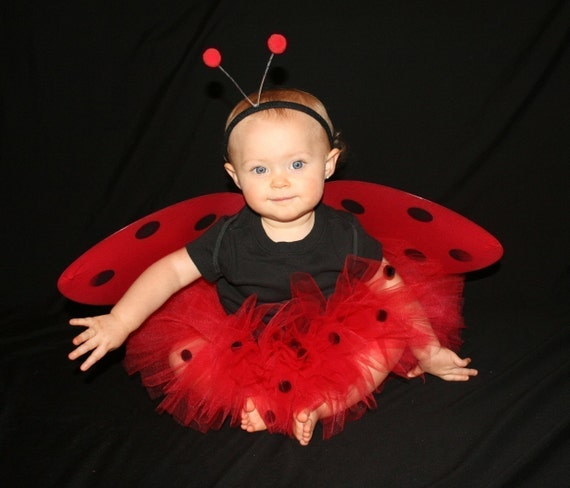 Ladybug Red Black FULL Custom Boutique Tutu Baby Toddler 0-12mo 1-2 2T 3T Birthday Party Costume Dress up Photo Prop Lady Bug HALLOWEEN