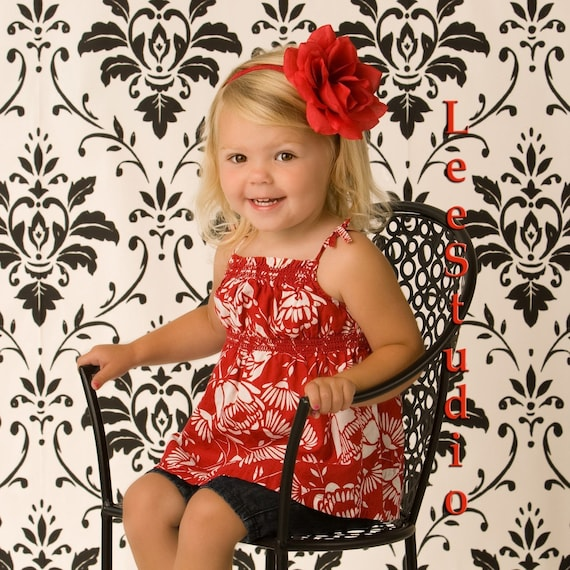 BIG Red Rose Flower BLING Boutique Headband Foe Elastic Newborn Baby Toddler Girl MUST Adorable Photo Prop Christmas Holiday Anyday
