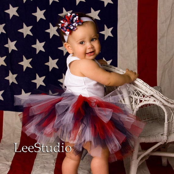 PATRIOTIC Red White Blue Full Boutique Tutu 0-3T 0-6 6-12 12-24 2T 3T Baby Toddler Girl Photo Prop Military Army MUST Have