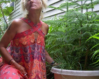 India Batik Sundress Custom Made NEW Colors OOAK Hippie Dress Summer Bohemian Sundress Chakra/Peacock Block Prints Adult Sundress