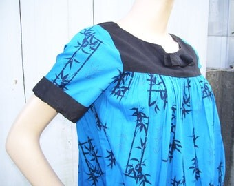 Asian Bamboo Bow Dress 50s Sushi Party Dress Blue Black and Gold Lotus Geisha Vintage Electric Blue Dress Adult S M L Tunic