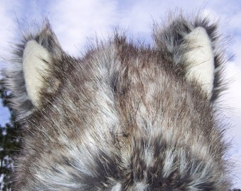 Furry Wolf Hat Ears Gray White Brown Really Real Wolf-like Fur Warm Winter Adult hat Twilight