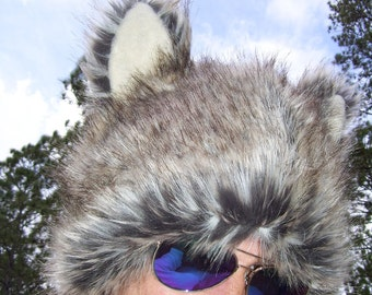 Furry Wolf Hat Ears Gray White Brown Wolf-like Fur Warm Winter Adult hat Twilight Christmas Birthday Gift Adult or Child