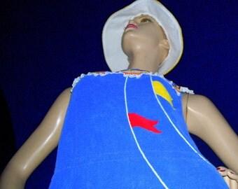 Terry Beach Dress Blue Tank Dress with Sailor Nautical Flags Vintage Shadow Line Sailing Resort Cruise Wear Lagniappe Vintage Bucket Hat