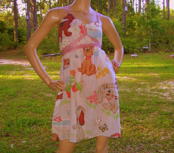 Pound Puppies Dress OOAK Upcycled 80s Vintage Fabric Adult Mom Party Mini Sundress S M L XL Dog Puppy Lover Parade Cruise Resort