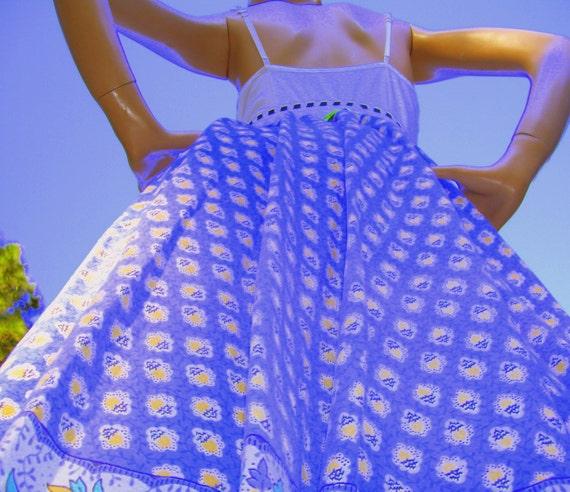 Batik Tshirt OOAK Dress Vintage Tablecloth upcycled Festival Sundress
