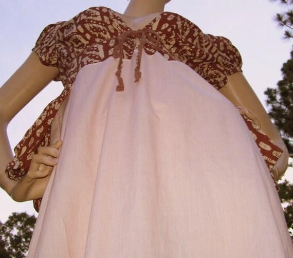 Batik Bustle Slip Dress Pink Brown Cotton Plunging Neckline Fun Festival Hippie OOAK Siren Dress with Lace Kitsch Kitschy Adult S M